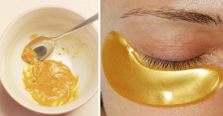 , «Máscara de oro» para la piel alrededor de los ojos! 10 años menos en solo 5 minutos., Alimenta y Cura
