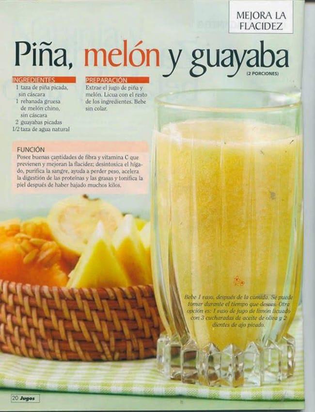 , Jugo de piña, melón y guayaba para combatir la flacidez, Alimenta y Cura, Alimenta y Cura